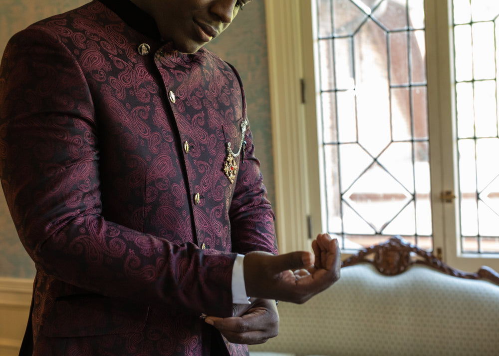 Burgundy and black jacquard wedding suit