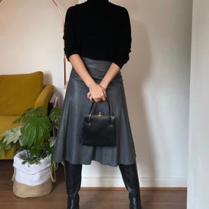 Aria leather midi skirt