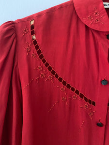 Ruby embroidered silk shirt