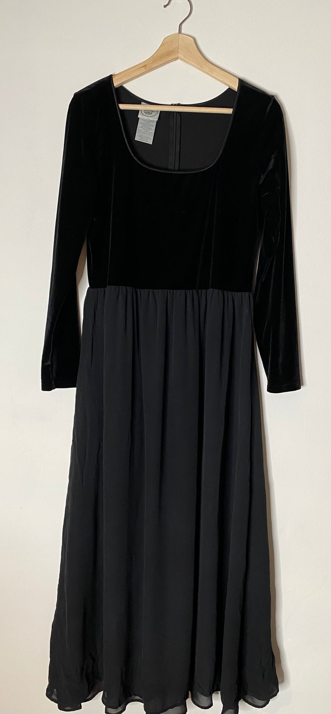 Laura Ashley black velvet and silk dress