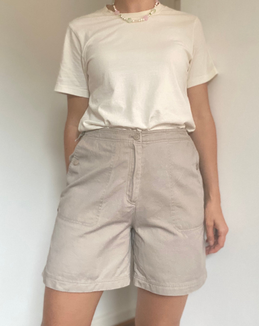 Light mushroom high waisted short - UK Size 14