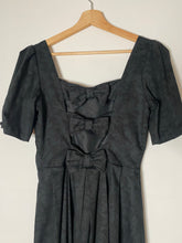 Load image into Gallery viewer, Laura Ashley black jacquard bow back dress