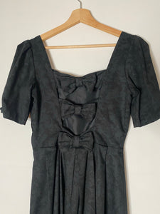 Laura Ashley black jacquard bow back dress