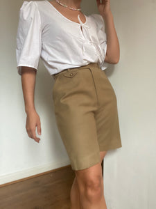 Camel suit shorts high waisted shorts- Waist 28 inches