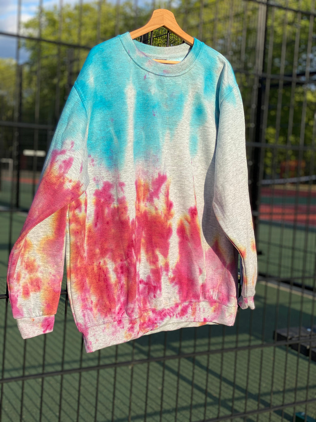 Fire lit skies- XL Hand tie dyed sweat