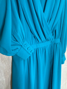 Tania teal wrap dress