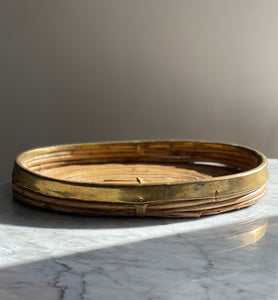 Rattan and brass detail tray