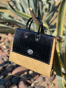 Black croc contrast stitch basket bag