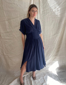 Charlotte midnight blue silk dress