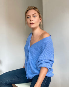 Carly blue cable cardigan