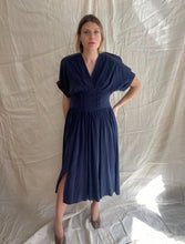 Load image into Gallery viewer, Charlotte midnight blue silk dress