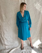 Load image into Gallery viewer, Tania teal wrap dress
