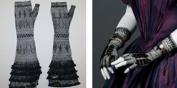 19th century women's lace fingerless gloves