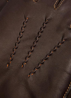 Men's Cashmere Lined Leather Gloves with Contrasting Detail