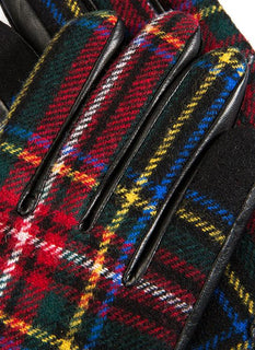 Women's Cashmere Lined Tartan Leather Gloves