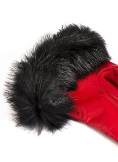 Women's Silk Lined Leather Gloves with Fur Cuffs