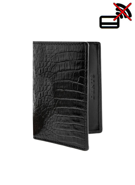 Crocodile Print Leather Card Holder with RFID Blocking Protection