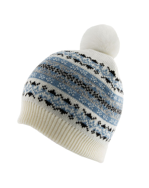 Women's Fairisle Print Knitted Beanie Hat with Pom Pom