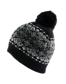 Women's Fairisle Print Knitted Beanie Hat with Fading Stripe and Pom Pom