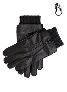 Men's Fleece Lined Deerprint Leather Touchscreen Gloves