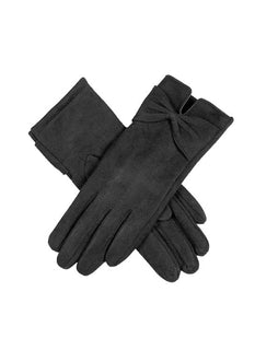 Women's Touchsreen Faux Suede Gloves with Bow