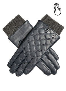 Women's  Quilted Touchscreen Leather Gloves with Knitted Cuffs