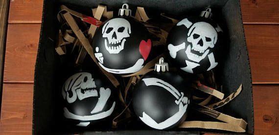 Black flag Christmas Ornaments