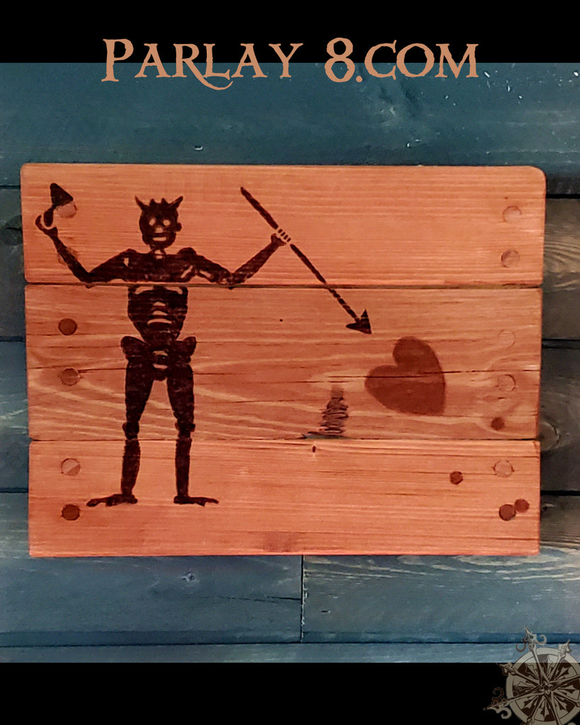 Wood Burned Pirate Black Flags
