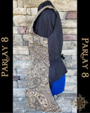 Long Black and Gold Paisley Vest - Men's Medium 18th Century Style