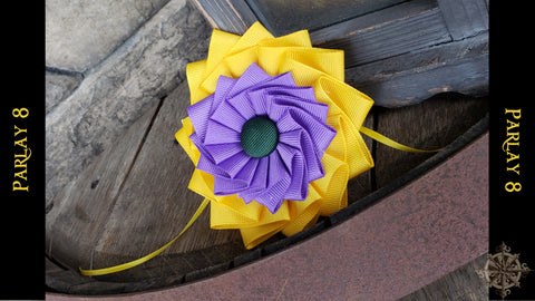 18th century style Green, Purple and Yellow Ribbon Cockade