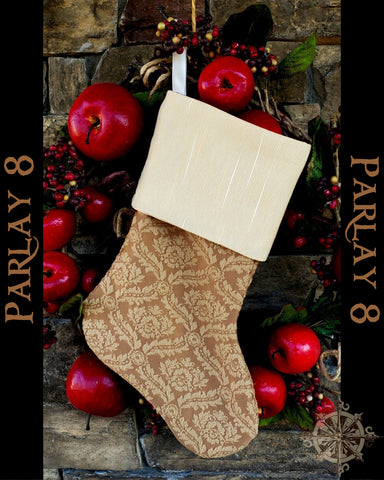 Pirate themed Cream Damask Christmas Stocking