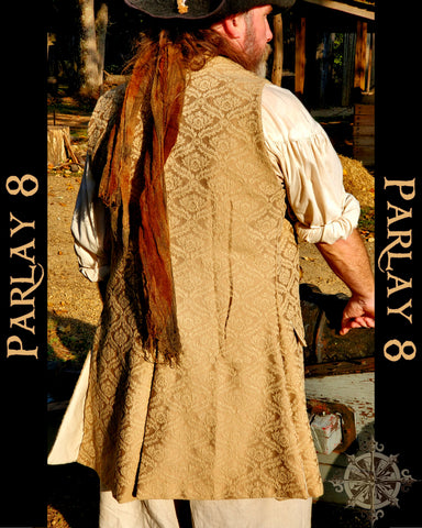 Long Beige Damask Vest - Men's Extra Large 18th Century Sleeveless Waistcoat