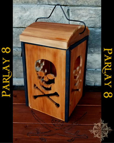 Jolly Roger Scroll Saw Pirate Lantern Candleholder