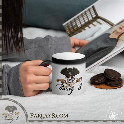 Parlay 8's Original Jolly Roger Matte Black Magic Mug