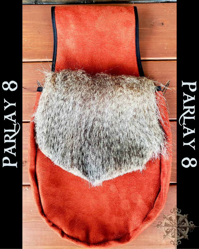 Large Renaissance Belt Pouch with fur flap