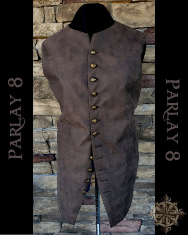 Men's 18th Century Long Brown Leather Like Pirate Vest