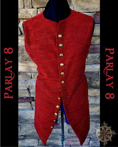 Long Red Weave Vest - Men's Large 18th Century Style