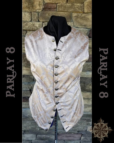 Short Silver Damask Vest - Men's 18th Century Style