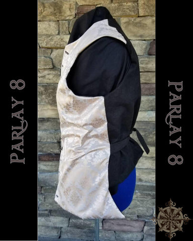 Men's 18th Century Short Silver Damask Pirate Vest