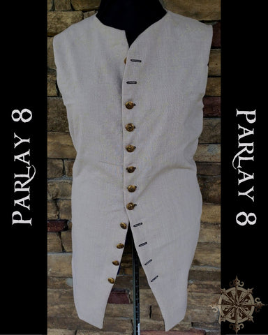 Long Beige Linen Vest - Men's 18th Century Style