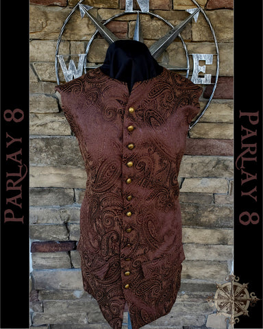 Long Brown Paisley Vest - Men's Extra Large 18th Century Style