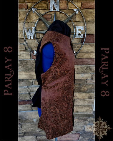 Men's 18th Century Long Brown Paisley Pirate Vest