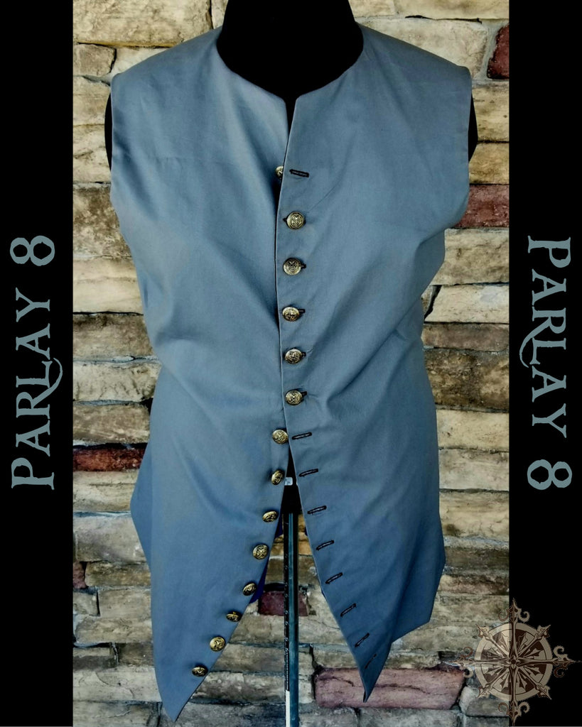 Long Gray Vest - Men's 18th Century Style