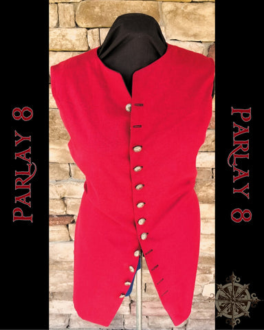 Long Red Linen Vest - Men's 18th Century Style