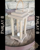 Hanging Bamboo and oak open candle lantern