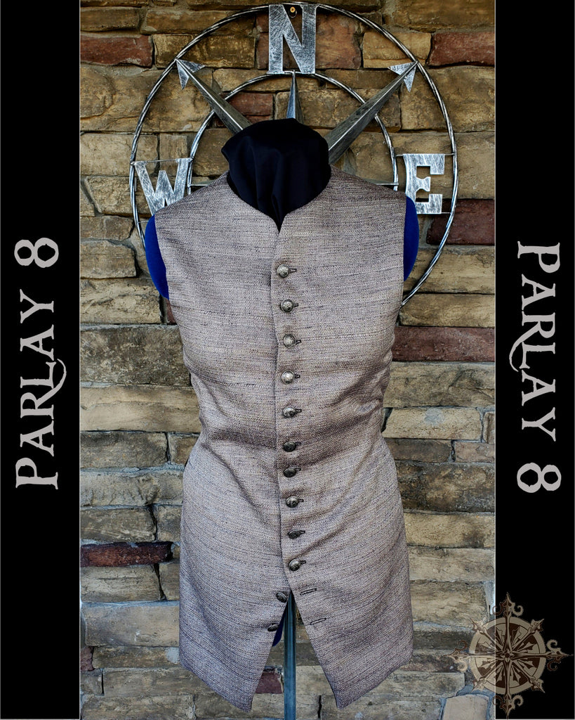 Long Pebble Brown Vest - Men's 18th Century Style