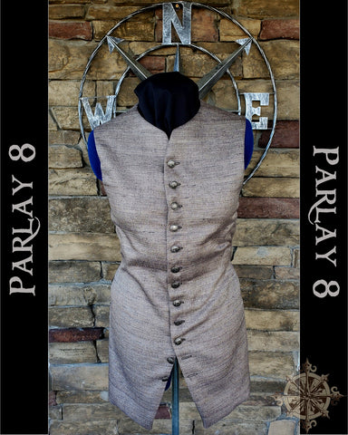 Men's 18th Century Long Brown Pebble Pirate Vest
