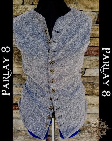 Short Gray Scroll Vest - Men's 18th Century Style