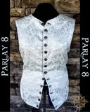 Short White Floral Vest - Men's Extra Large 18th Century Style
