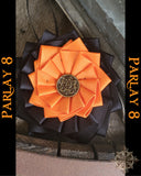 18th century style Orange and Black Ribbon Cockade